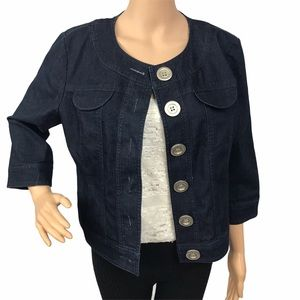 Focus 2000 8 PETITE dark wash Jean jacket blazer